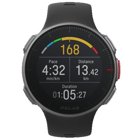 Futóedzés képernyője: grafikus pulzus, tempó, távolság, idő