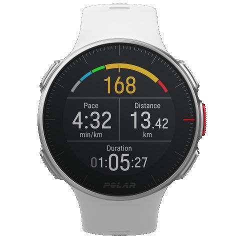 Futóedzés képernyője: grafikus pulzus, tempó, távolság és idő