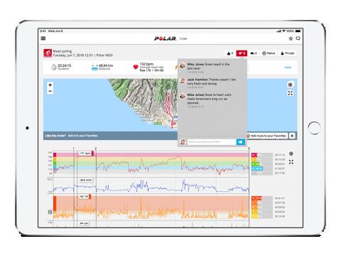 Kerékpáros edzés a Flow programban. Térkép, pulzus, sebesség és wattszám, takarásban pedálfordulat. Kiemelve jobb oldalon a kijelölt szakasz pulzuszónái