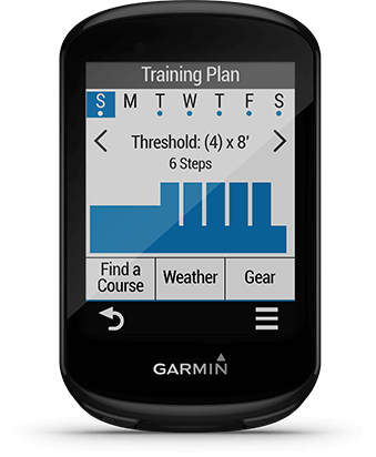 Edge 830 with advanced workouts screen