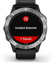 fēnix 6 with safety and tracking features screen